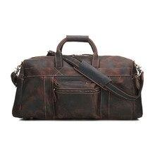 YISHEN Vintage Crazy Horse Leather Men's Travel Bags Tote Duffel Bag Genuine Leather Luggage Bag Men Shoulder Bag Handbag MS1098