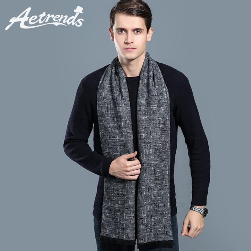 Winter Scarf Tartan Korean-Style Male Luxury Brand Cashmere-Feel AETRENDS Men For Z-6571