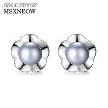 hot deal buy msxneow 7-7.5mm natural pearl silver women stud earrings 925 silver jewelry aaaaa freshwater fine jewelry for woman fe0024