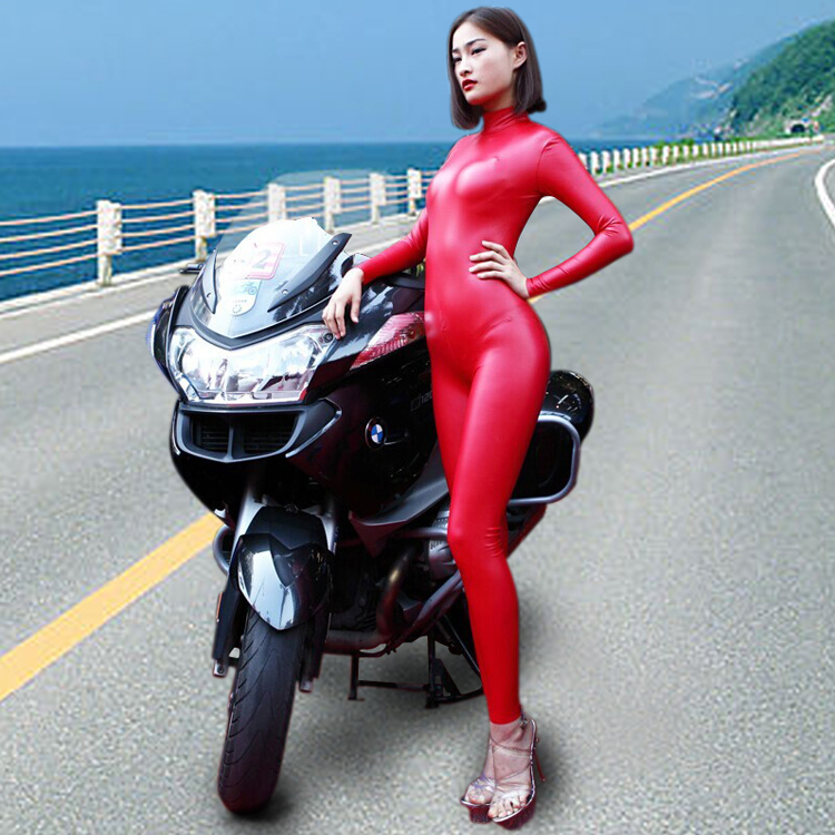 Cool Modern Women Fashion Locomotive Customes Latex Ammonia Siamese High neck Long sleeve Bodysuit