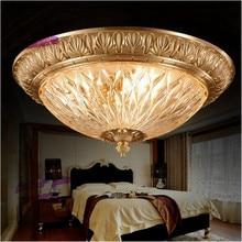 Europäischen stil alle kupfer führte deckenlichtkuppel glas lampe Französisch runde schlafzimmer lampe.