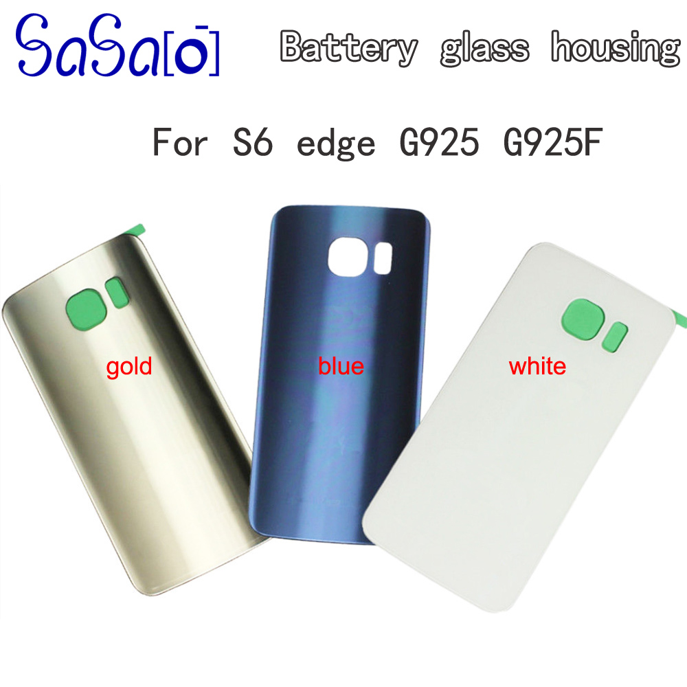 Back Glass cover For Samsung Galaxy S6 edge G925 Replacement Battery Door Case housing with sticker