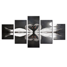 HD Printed Swan series on the lake Canvas Painting Wall Art Modular Pictures framed 5 Pcs Home Decor