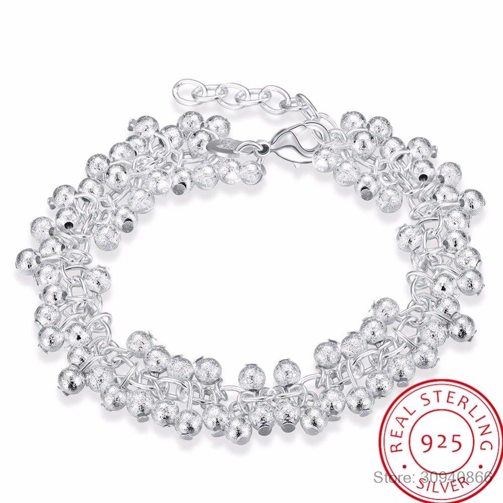 LEKANI Women's Fine Jewelry 925 Sterling Silver 19cm Chains Sand Light Beads Grape Charms Bracelet Bangle Pulseiras De Prata