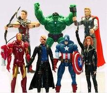 7 pcs/lot The Avengers 15cm Captain America Wolverine Thor Spiderman Batman Action Figures Toy