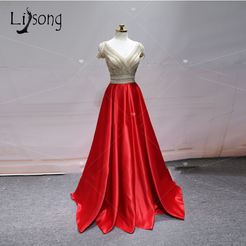 Luxury Red Beaded Crystal Long   Evening     Dresses   2018 Suadi Arabic A-Line Long Backless   Evening   Gowns Beaded Formal Party   Dress