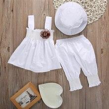 Blanco bebé niños niñas princesa Tops vestido + Pantalones + sombrero de 3 piezas de bebé niña trajes de fiesta conjunto de ropa 0-24 M