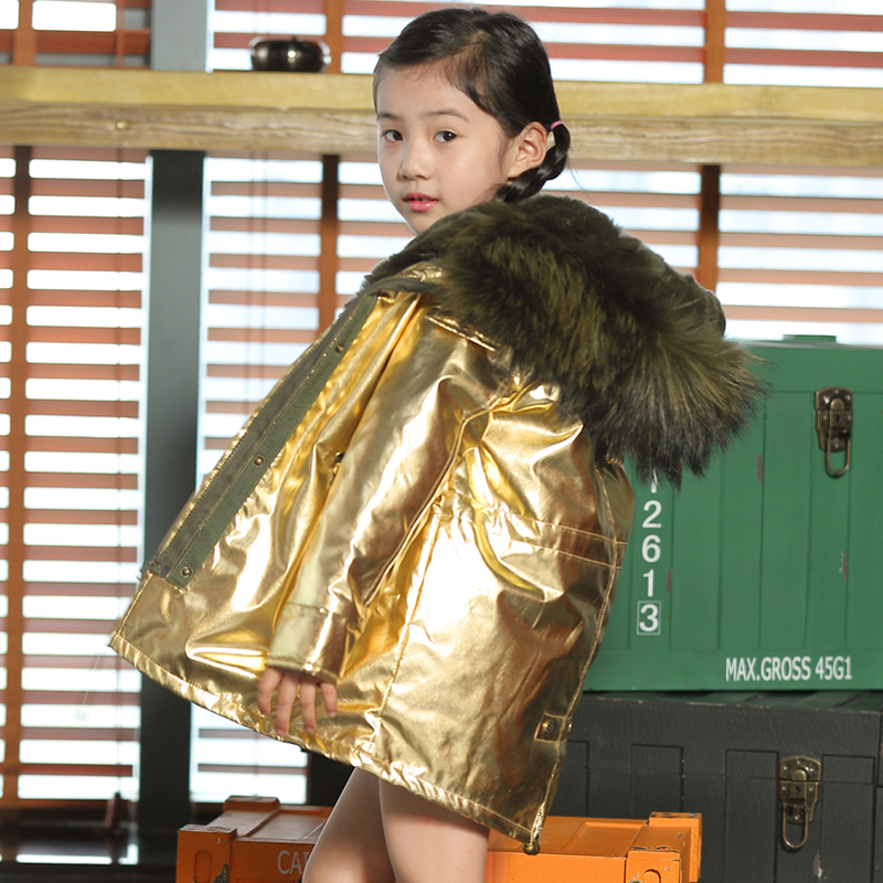 Boys and girls rabbit fur coat jacket baby big fox fur collar coat autumn and winter warm jacket children fur collar coat rounded collar shimmer jacket and skirt set