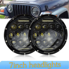 цена на 2pcs 7 inch  Led Headlight Kit 75w 35w H4 H13 Hi-Lo Beam The Daytime Running Light for Jeep Wrangler JK TJ Lada Niva 4x4 4wd