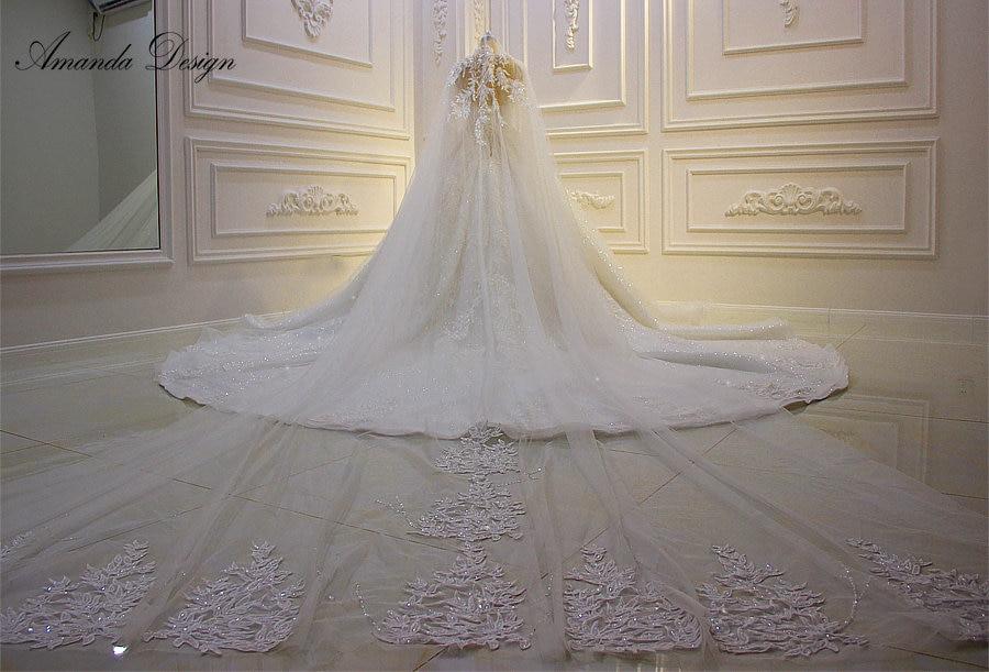 Amanda Design Luxury Lace Appliqued Shiny Long Veil 2019
