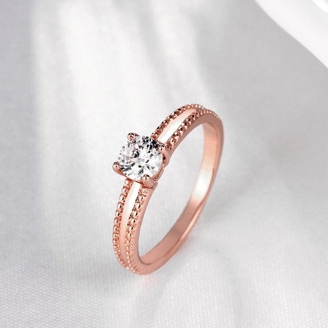 image & Online Shop Rose Gold Color Ring With A Stone Cheap Fashion Costume ...