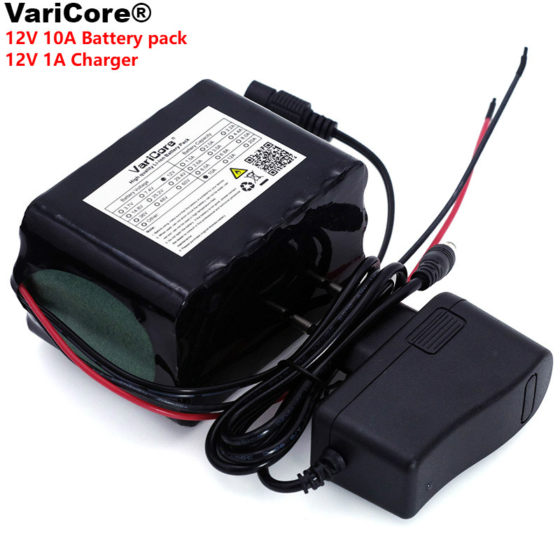 VariCore Large capacity 12 V 10Ah 18650 lithium Rechargeable battery 12v 10000 mAh 75W LED lamp Xenon+ 12.6 v 1A battery Charger