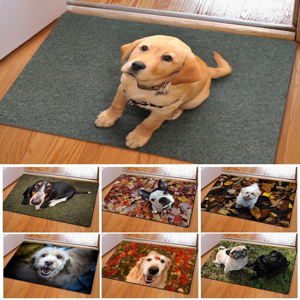 1pc Cute Pet Dog Print Rectangle Bedroom Kitchen Anti-Slip Doormat Modern Home Decor 40cm X 60cm