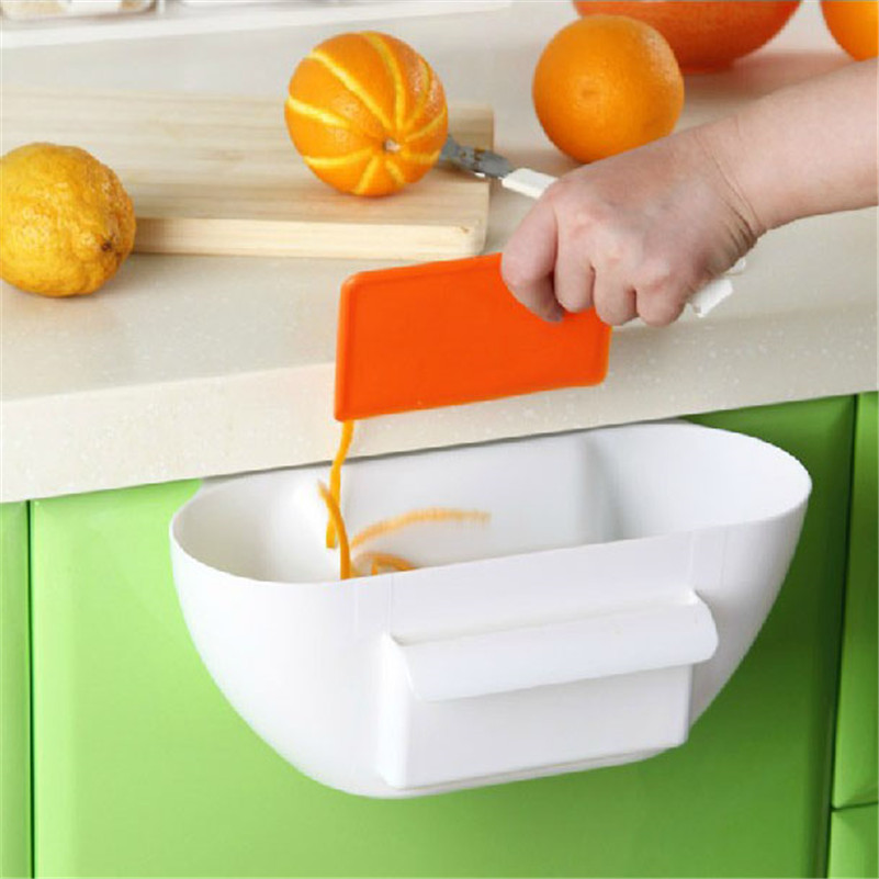1pcs Kitchen Trash Rubbish Bin Holder Garbage Rack Tailgate Storage Basket Hanger Organizer
