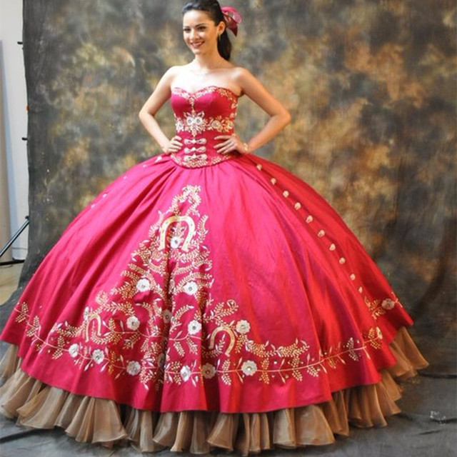 Girls Ball Gown Quinceanera Dresses Sweetheart Luxury Gold Embroidery  Pleats Floor Length Wedding Party 5b39b6ab1579