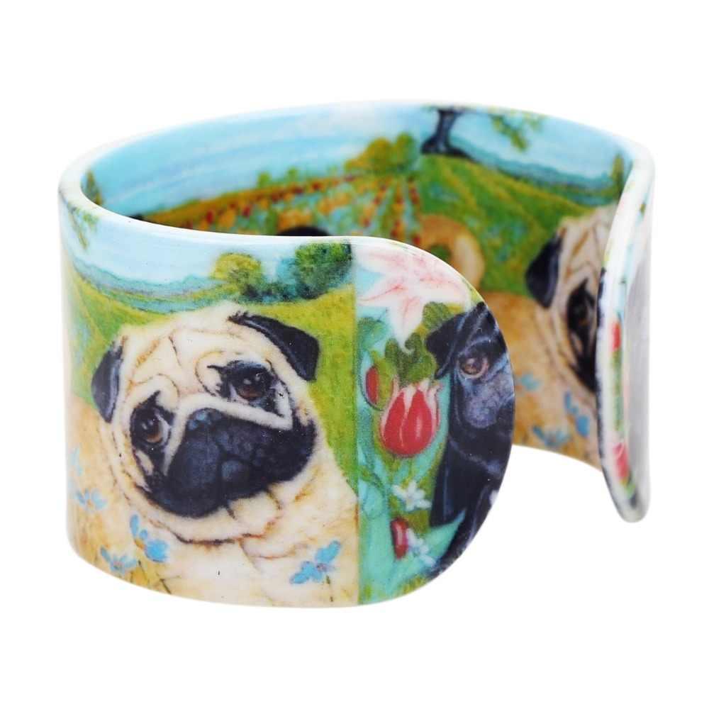 Bonsny Plástico Rural Francês Bulldog Cão Pug Bangles Pulseiras Moda Indiana Jóias Artesanais Para As Mulheres Das Senhoras Da Menina de Acessórios Para Animais de Estimação