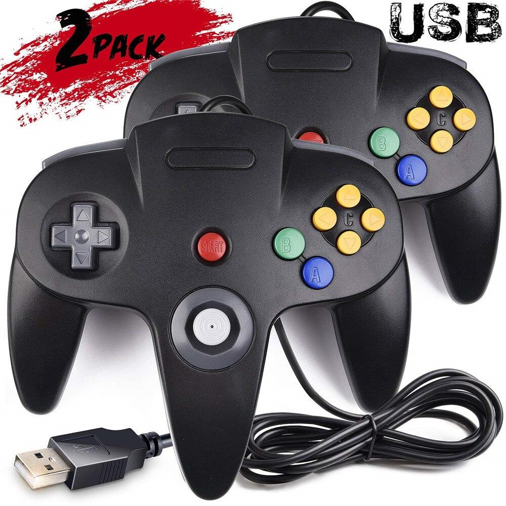 Clássico N64 64 Gamepad Com Fio USB 2.0 Controlador de Jogos retro Joystick joypad Game Pad Para PC Mac 2 pçs/set