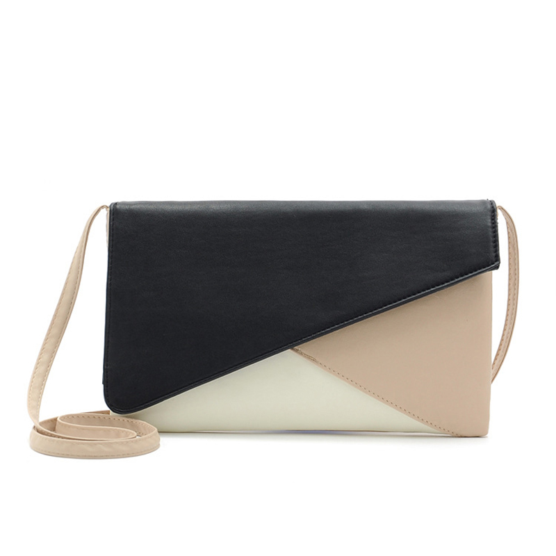 3 Colour Blocking Patchwork Messenger bag Women Bag Ladies Clutches Handbag Shoulder Bags Pu Messenger Female