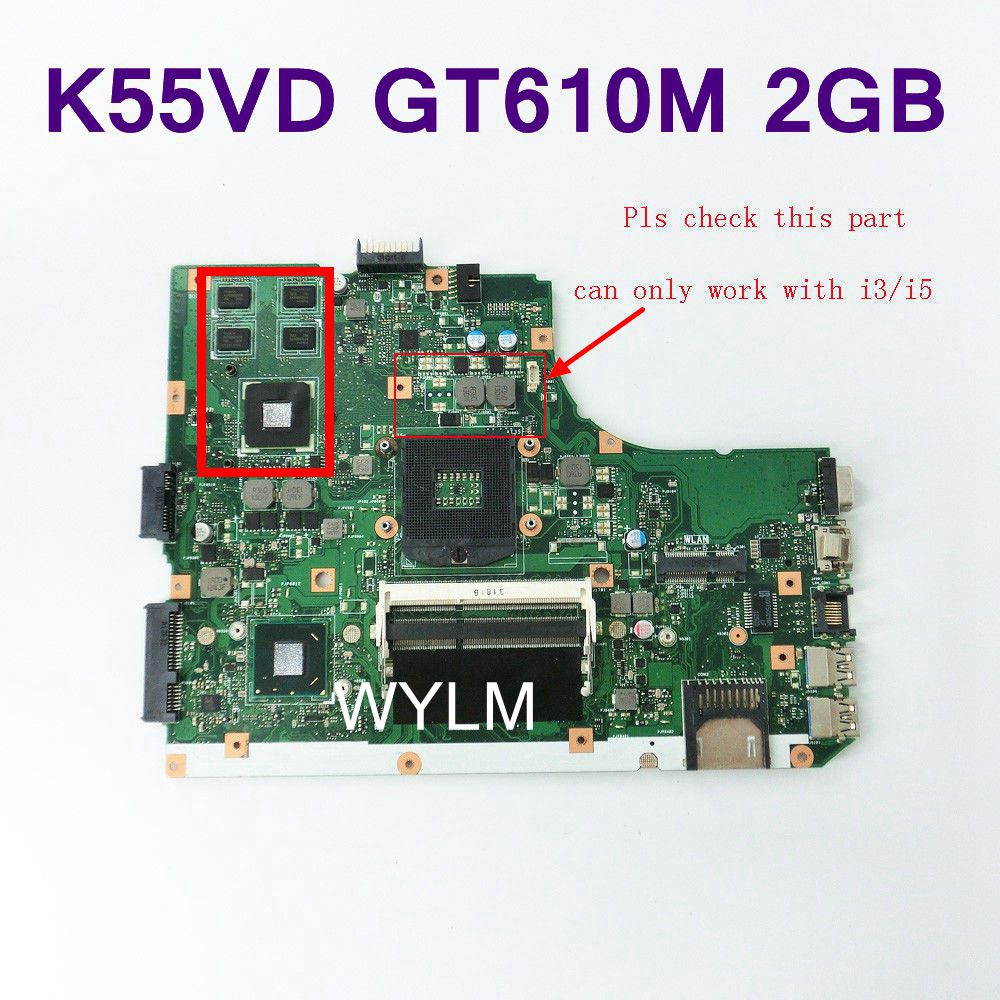 K55VD Mainboard REV 3.0 GT610M 2GB N13M-GE1-S-A1 For ASUS K55V A55V K55VD R500V Laptop motherboard USB 3.0 Tested Free Shipping n13m ge2 aio a1