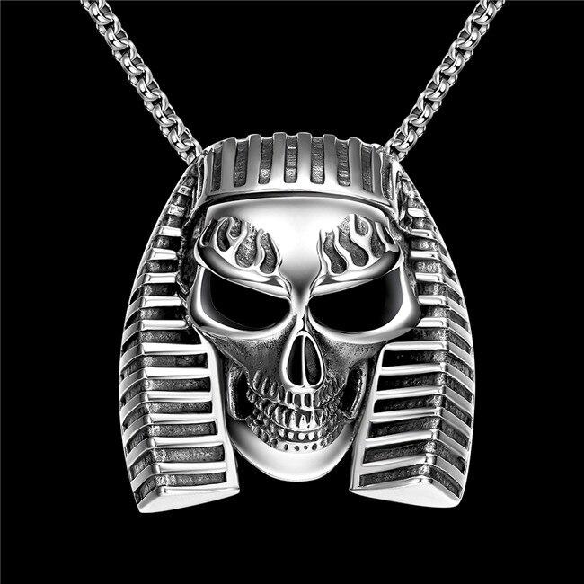 316L en acier inoxydable antique Égyptien pharaon crâne pendentif collier  rétro hommes de bijoux chaîne longueur 60 CM Rock style 401bbd48244