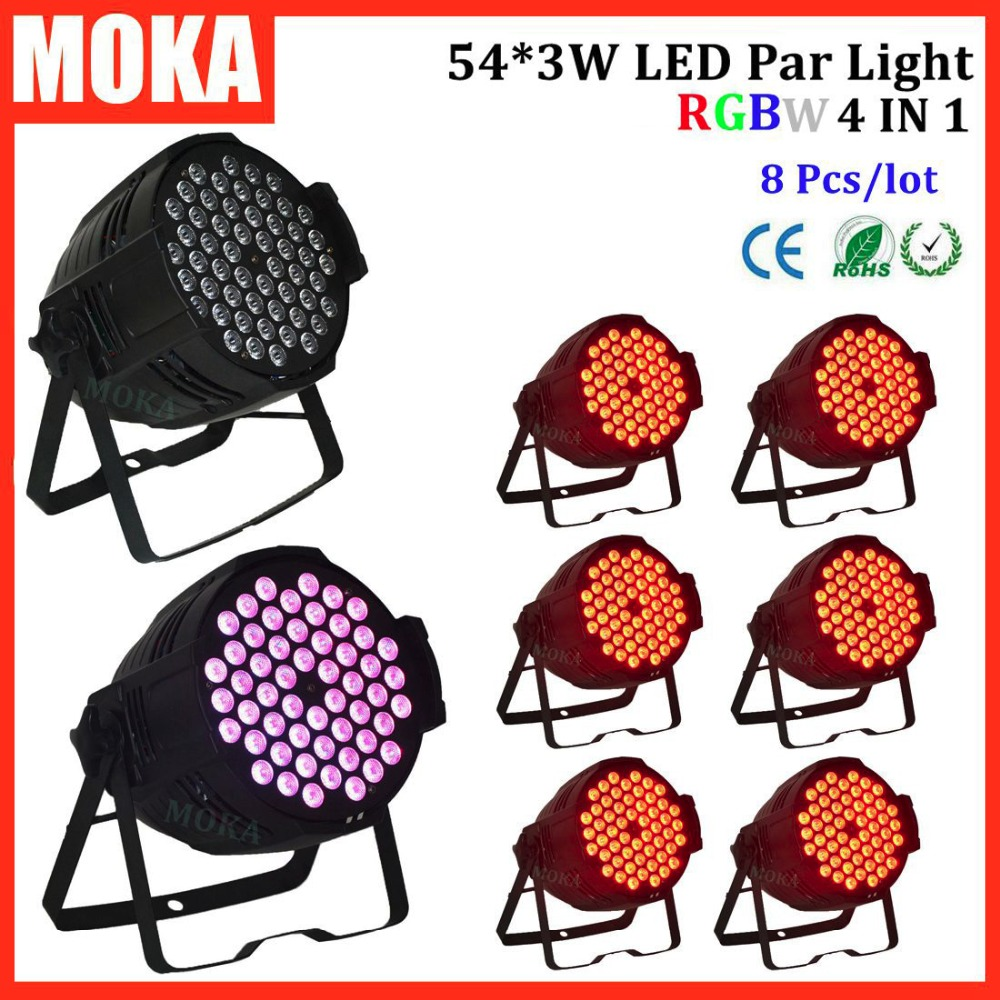 8 Pcs/lot Par 64 LED Par Light 54*3w led lamp RGBW 4 in 1 LED Par Can DMX 8Chs led effect for DJ Party Stage Lighting free shipping 16 lot dmx 18x10w rgbw led par can light for stage decoration