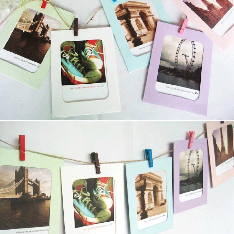 6 Inch 7pieces of color paper frame creative Wall hanging paper ...