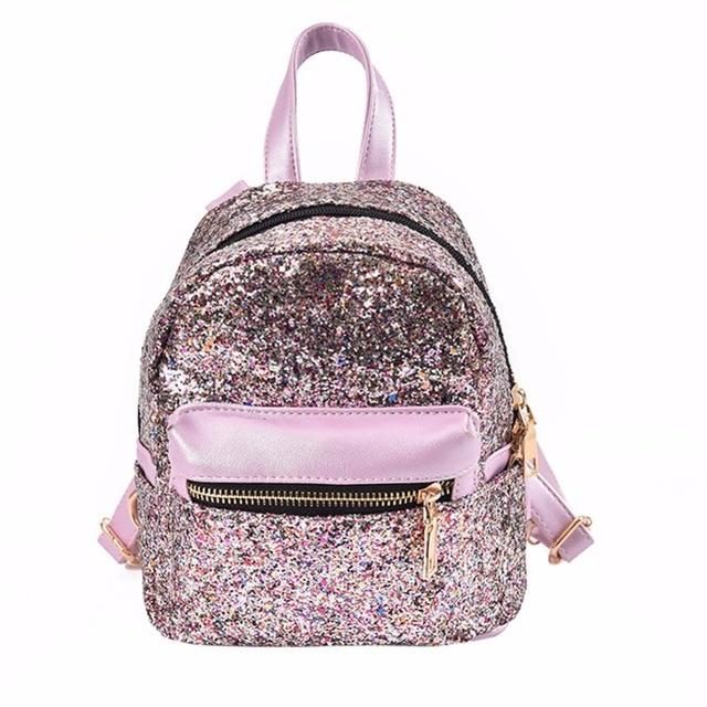 408003a9bf Moda Paillettes Donne di Cuoio Bling Zaino Mini Bag Adolescente Ragazze  Semplici Zaini Tempo Libero Femminile