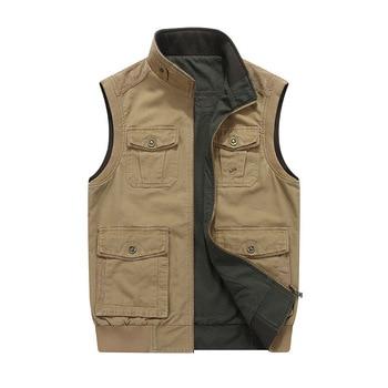 Big Size M-8XL Men Vest Multi-pockets Both Side Wear Waistcoat Stand Collar Cotton Cargo Military Vest Men Casual Colet
