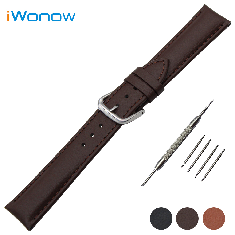 Genuine Leather Watch Band 20mm for Ticwatch 2 42mm Stainless Buckle Strap Wrist Belt Bracelet Black Brown + Spring Bar + Tool 20mm stainless steel watch band curved end strap for ticwatch 2 42mm butterfly buckle wrist belt bracelet black silver tool