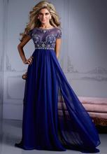 Sexy Vestidos De Fiesta Scoop Neck Short Sleeve Royal Blue Prom Dress 2015