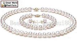 Ddh034 GW Charming 8-9 MM Runde AAAA weiße farbe perle Set 14 Karat YG