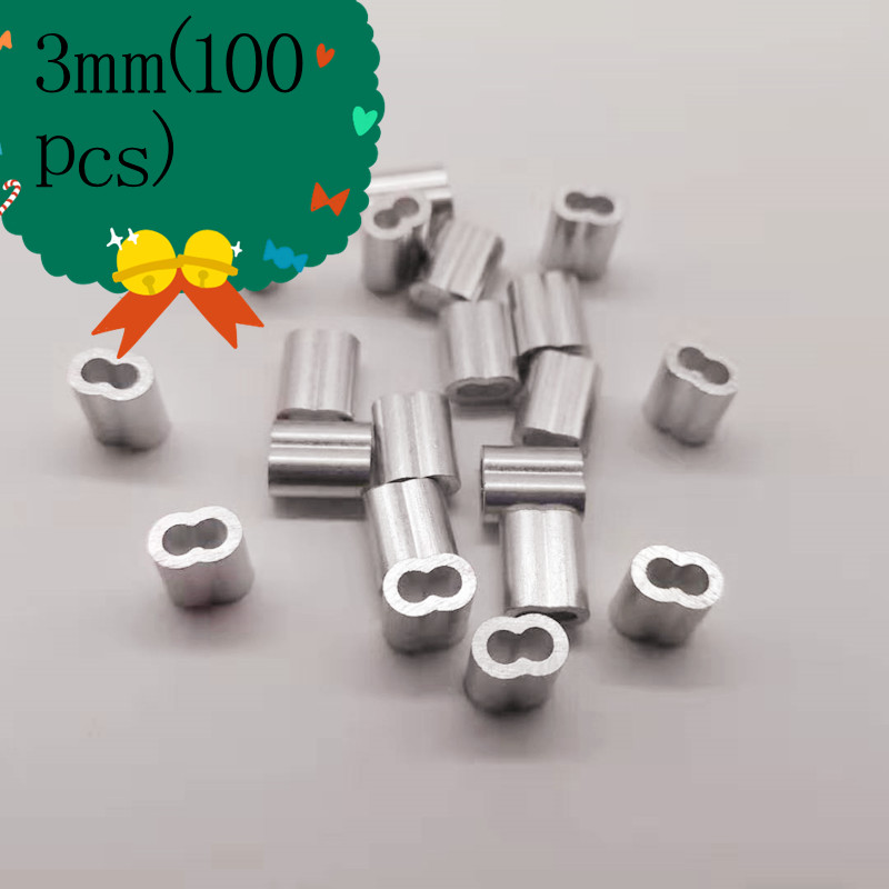 100pcs Diameter 3mm Oval Double Hole Aluminium Sleeves For Wire Rope Crimp