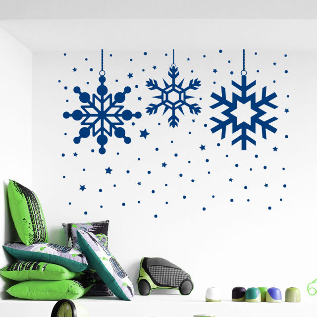 Frozen Snow Snowflake Christmas Wall Decals Merry Christmas Home Window Art  Decor Vinyl Removable Wall Sticker