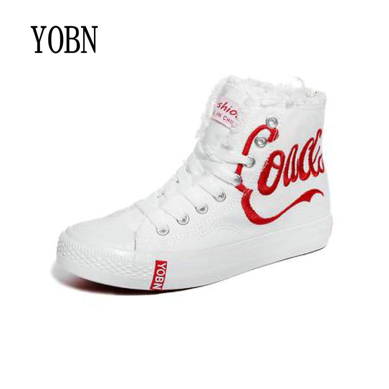 YOBN2017 Women Vulcanize Shoes Female High Canvas Shoes Women Fashion Breathable White Fringe Casual Shoes Solid Shoes Woman 107 huanqiu white women vulcanize canvas shoes low breathable female solid color flat shoes casual candy colors leisure cloth shoes
