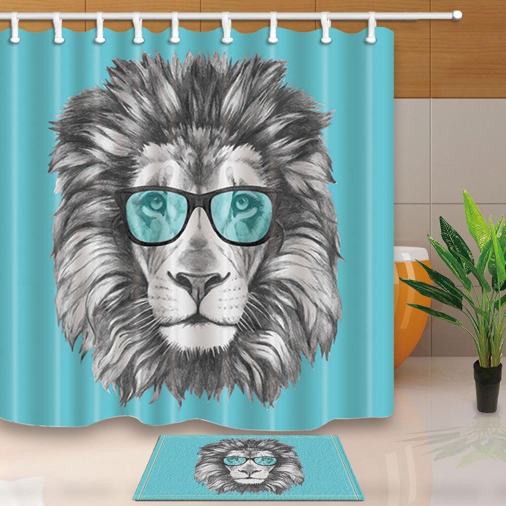 Animal LION Noir et fond blanc Tissu De Polyester Rideau de douche set
