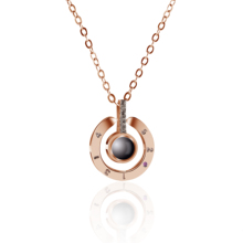 Fashion Classic Trend Round Lettering Black Pearl Copper Necklace Pendant Noble Temperament Jewelry High Quality