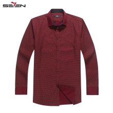 Seven7 Brand High Class Men Autumn Formal Dress Shirt 100% Cotton Polka Dot Long Sleeve Slim Men Shirts Male Chemises 109A30030