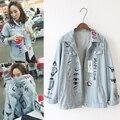 Джинсовая куртка женщины 2015 осень зима старинные Harajuku новинка граффити письмо печать с длинным рукавом джинсовой пальто jaqueta джинсы с41