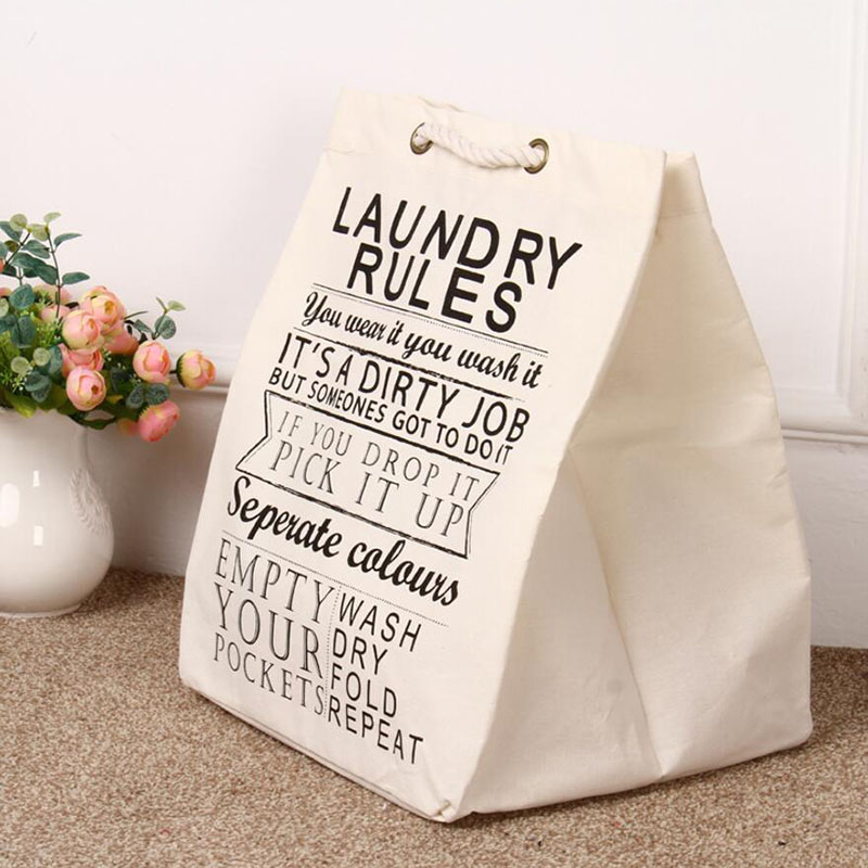Easy to Carry Canva Fabric Laundry Bag Basket with Handle, Beige Foadable Washing Clothes Toys Holder Organizer for Travel