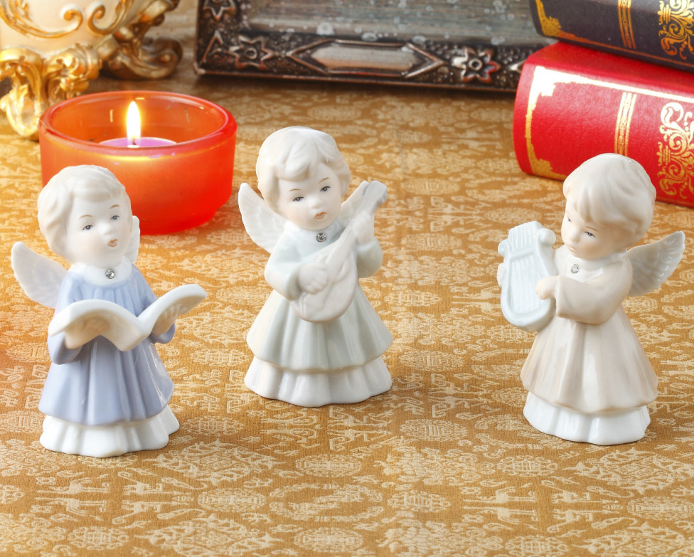 Lovely Porcelain Music Angel Baby Figurine Set Ceramic Decoration Gift and Craft Ornament Accessories Embellishment Furnishing