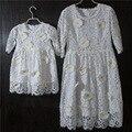 Марка белый большой размер 3D подсолнечник половина Рукава дети юбки baby дети девушки кружевном платье мать и дочь платья принцесс