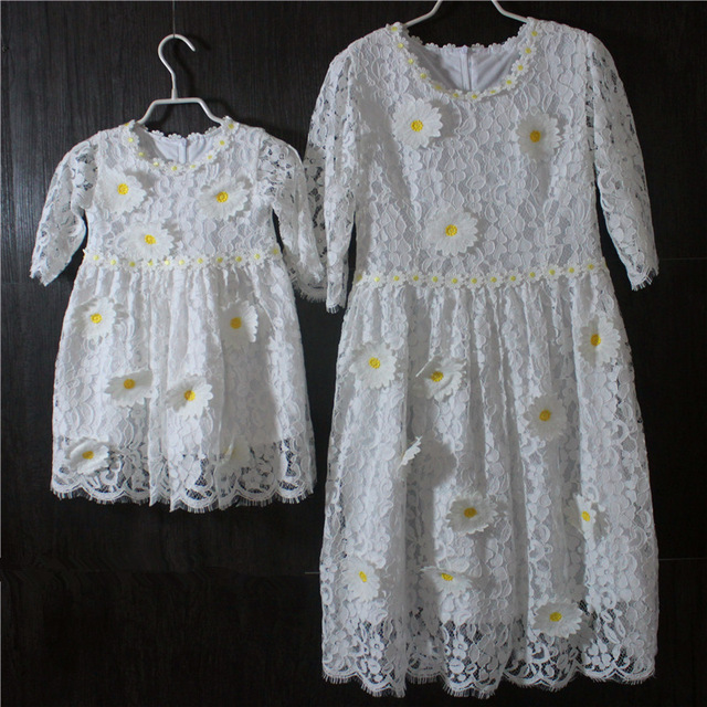 Brand white large size 3D sunflower half Sleeves children skirts baby kids girls lace dress mother and daughter princess dresses