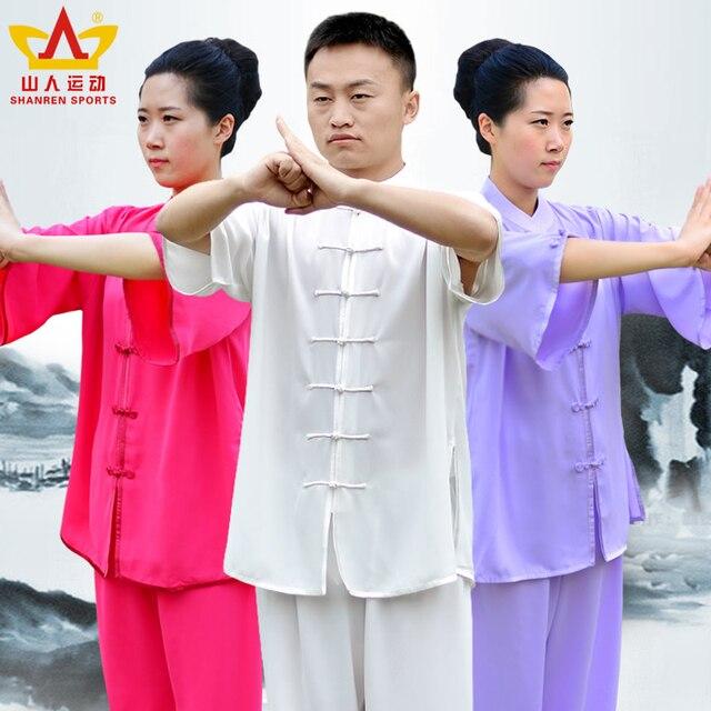 Тайцзи носить с короткими рукавами хлопок летом костюм Кунг-Фу Одежда Ушу Тайцзицюань практика боевых Униформы Кунг-Фу-одежда