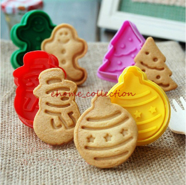 Xmas Plastic Plunger Cookie Cutters Set Christmas Biscuit Molds Fondant Cake Decorating Tools Baking Kitchen