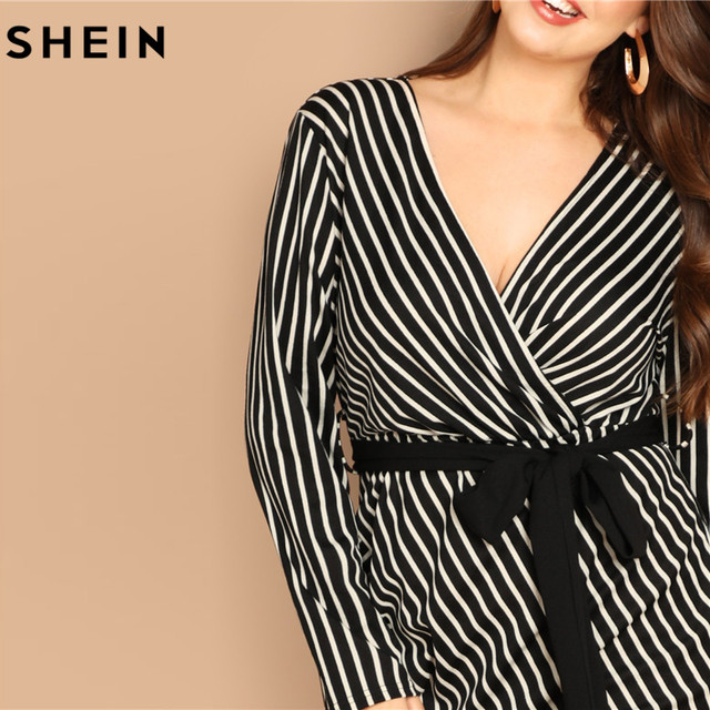 SHEIN Black and White Plus Size Deep V Neck Striped Dress Asymmetrical Hem Women Workwear Going Out Elegant Dresses 3