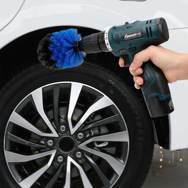 3pcs/set Car Cleaning Tool Auto Detailing Cleaning Hard Bristle Car Auto Care Car Brush Drill Scrubber Brush Kit 2