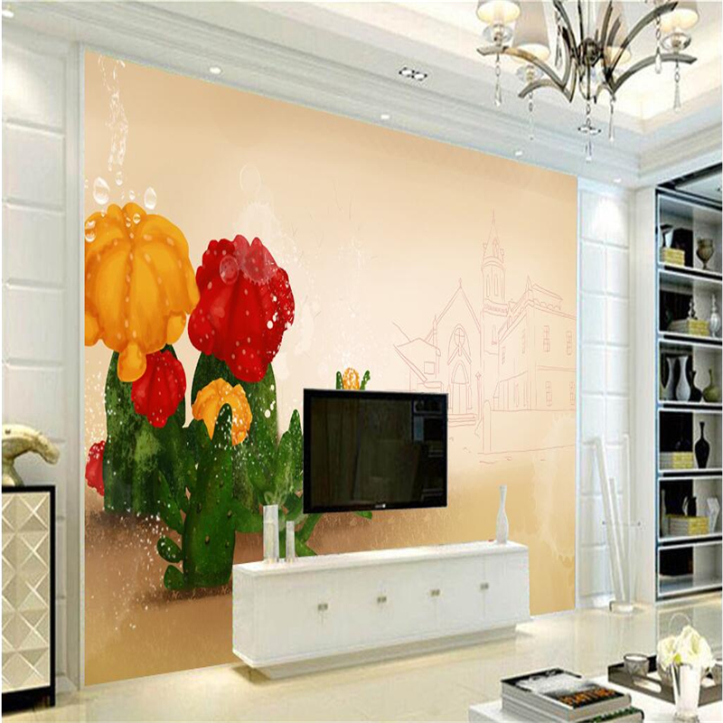 3d Wallpaper Papier Cactus Desert Wall Paper 3d Photo TV Background Study Kitchen Wall Mural Wallpaper Living Room Restaurant shinehome black white cartoon car frames photo wallpaper 3d for kids room roll livingroom background murals rolls wall paper