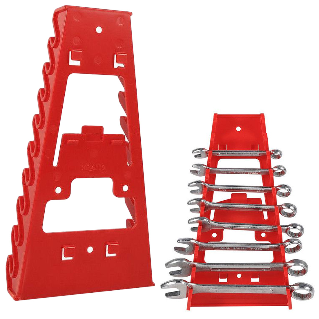 Wall Mounted Plastic Red 9 Slot Wrenches Rack Standard Organizer Holder Tools Storage Rack Rail Tray