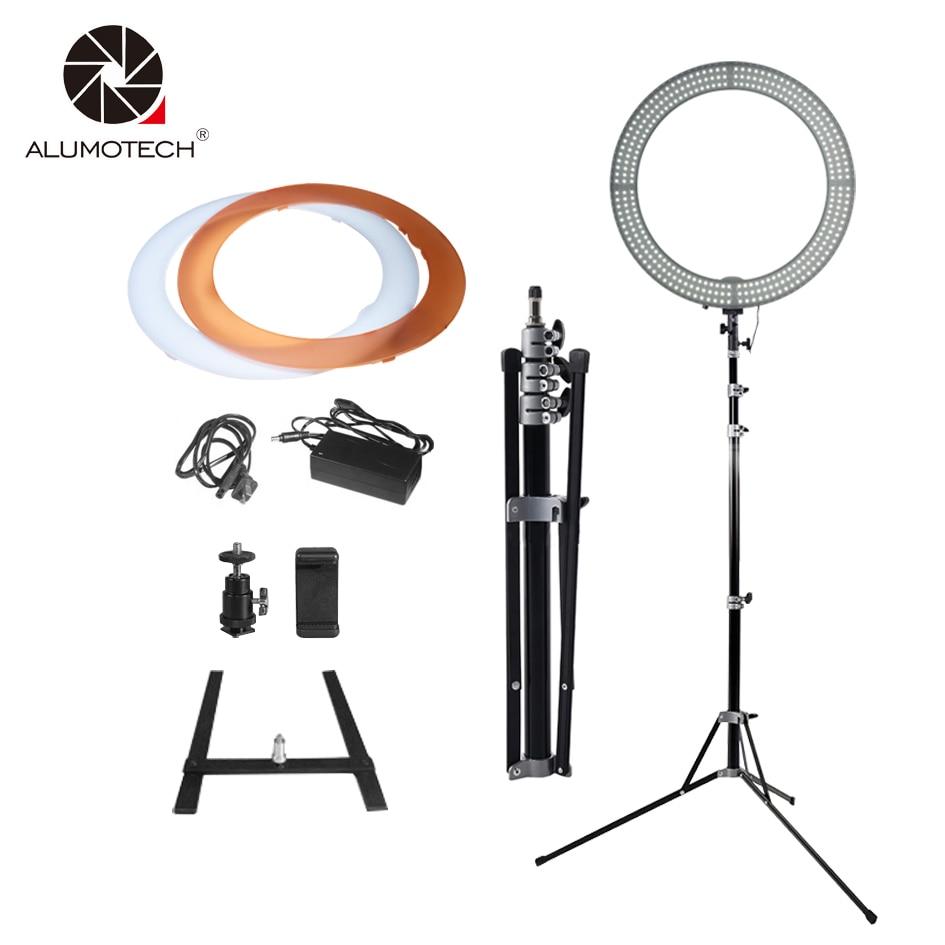 """Alumotech 18 """"кольцо светодиодный свет + подставка селфи огни 60 Вт 5500 К/3200 К затемнения лампы накаливания для Камера фотостудия телефон видео"""