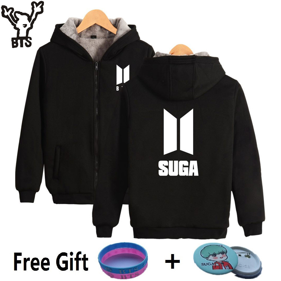 BTS Kpop Zipper Harajuku Hoodies Women Pop Bangtan Hip Hop Coats Winter Sweatshirt Women Fashion Funny Zipper Fans Female Clothe
